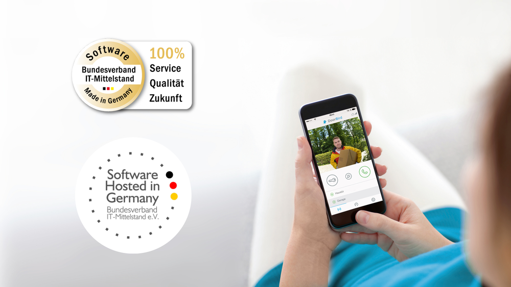 "DoorBird App certifié avec le sceau ""Software Made in Germany"""